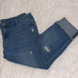 {Jennifer Lopez} Cropped Distressed Jean- size 16